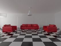 Red sofa and armchairs in modern empty room Stock Photos