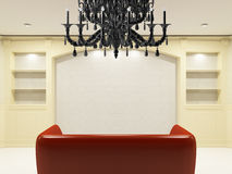 Red sofa with black chandelier Royalty Free Stock Photos