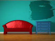 Red sofa with blue bedside table and splash frame Royalty Free Stock Image