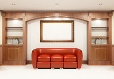 Red sofa with bookcase Stock Images
