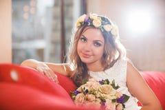 Red sofa bride Stock Image