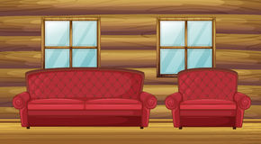 Red sofa and chair in wooden room. Illustration of red sofa and chair in wooden room Royalty Free Stock Photo