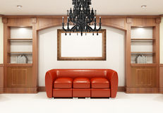 Red sofa with chandelier Royalty Free Stock Image