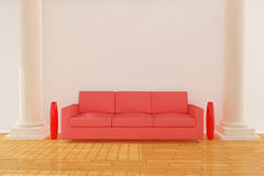 Red sofa with column Stock Photo