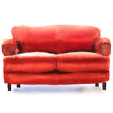 Red sofa, comfortable couch, isolated, watercolor illustration on white Stock Photo