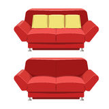 Red sofa couch vector design. Front view Royalty Free Stock Photos