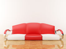 Red sofa in an empty room. 3D interior Royalty Free Stock Photos
