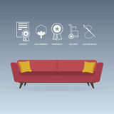 Red sofa in flat design with service icons set. Vector. Stock Photo