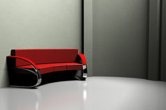 Red sofa in the gray room 3d Stock Photos