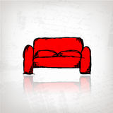 Red sofa on grunge background for your design Stock Images