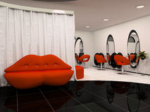 Red  sofa in the interior beauty salon. Red lips sofa in the interior beauty salon Stock Photo