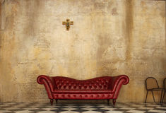 Red sofa. Inviting contacts to find passion Stock Images