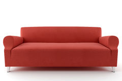 Red sofa isolated on white background. 3d red sofa isolated on white background royalty free stock photos