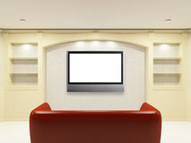 Red sofa with LCD tv on the wall. For yours information Stock Photos