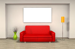 Red sofa in living room Stock Photos