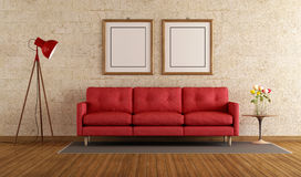 Red sofa in a living room Royalty Free Stock Photography