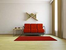 Red sofa in the livingroom Stock Image