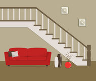 Red sofa, located under the stairs. There is also a big vases with decorative branches and pictures in the image. Vector flat illustration Royalty Free Stock Images