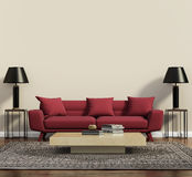 Red sofa in a modern contemporary living room royalty free illustration