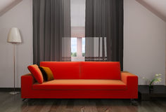 Red sofa in modern interior Stock Photo