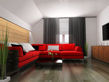 Red sofa in modern interior Royalty Free Stock Images