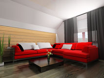 Red sofa in modern interior Royalty Free Stock Photography