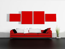 Red sofa in modern interior Stock Photography