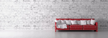 Red sofa over the brick wall 3d render. Interior with red sofa over the white brick wall panorama 3d render stock illustration