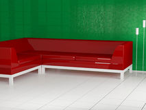 Red sofa in the room, 3d Stock Photo