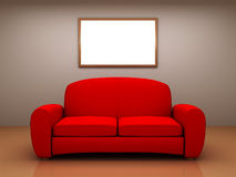 Red sofa in a room with a blank picture Royalty Free Stock Photos