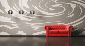 Red sofa in room interior 3d Royalty Free Stock Image