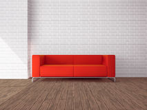 Red sofa in room Royalty Free Stock Photos