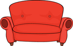 Red sofa. Red soft sofa for rest Stock Photos