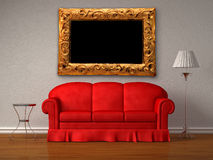 Red sofa,  table and lamp with antique frame Royalty Free Stock Photography