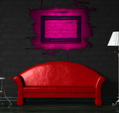 Red sofa, table and lamp with splash hole Royalty Free Stock Photos