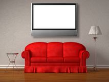 Red sofa, table and stand lamp with the lcd tv Royalty Free Stock Photos