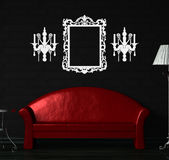 Red sofa, table  and standard lamp Royalty Free Stock Images
