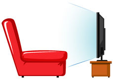 Red sofa and television on table Stock Image