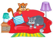 Red sofa with two cartoon cats Royalty Free Stock Images
