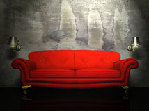 A red sofa and the two sconces Stock Photo