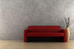 Red sofa and vase with dry wood Royalty Free Stock Image
