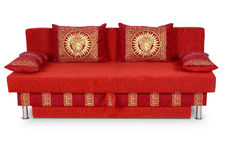 Red sofa on white Royalty Free Stock Images