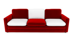 Red sofa with white cushions 3d render.  Stock Images