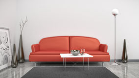 Red sofa in a white room Stock Image