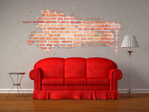 Red Sofa With Table And Stand Lamp Royalty Free Stock Photo