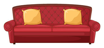 A red sofa and yellow cushions Royalty Free Stock Photo