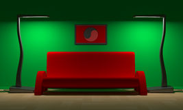 Red Sofa and yin - yang Royalty Free Stock Photos