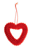 Red soft heart frame on a string isolated Royalty Free Stock Photos