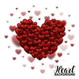Red Soft and Smooth Valentine Hearts in white Background Valentines Day. Realistic 3D Vector Illustration Royalty Free Stock Photos