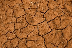 Red soil. Texture of cracked red soil in hot summer day Royalty Free Stock Image